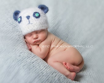 Crochet Fuzzy Bear Hat, Blue and white, Newborn, photography prop