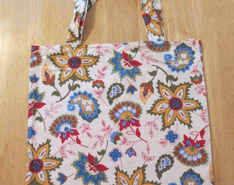 Cotton Grocery Tote, Blue and Red Floral, Orange and White Dots
