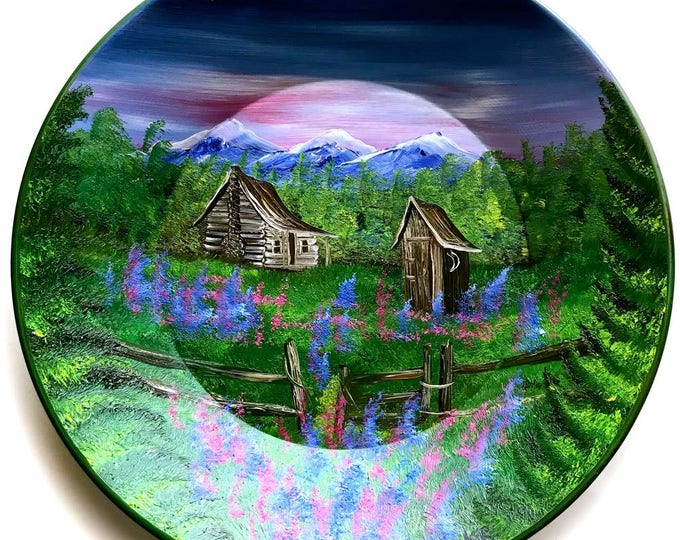 Hand Painted 11 Inch Gold Pans Mountain Summer Cabin and Out House