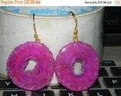 20off Earring-Druzy Earring-Solar Earring-Pink Druzy Solar Earring-Dangle Earring-Gemstone Earring-Natural Druzy Solar Earring