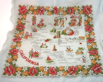 Vintage Hankie California Map w Mickey Mouse Oranges Movie Camera MORE! 13x13.5