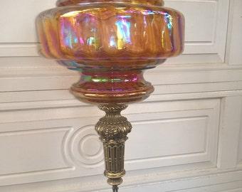 Carnival Glass Hanging Lamp