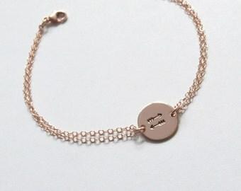 Best Friend Gift,Delicate Gold Bracelet, Arrow Bracelet, Rose Gold Disc Bracelet, Anchor Bracelet/Monogram Bracelet