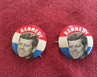 Vintage 1960 Set of Two Kennedy Campaign Buttons