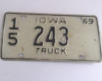 Vintage 1969 Iowa Truck License Plate 243