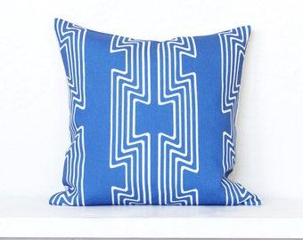 Geo Empire Stripe Linen Pillow Cover - Pacific Blue Combo