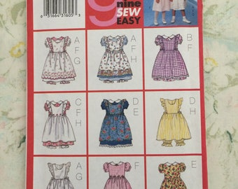 Girls Dress with Pinafore and Pantaloons Size 6 7 8 Butterick 6613 Sewing Pattern Uncut Factory Folded
