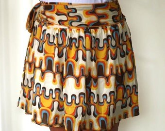 CHRISTMAS SALE Spring retro Skirt in orange, mustard yellow, blue and brown abstract mini skirt.