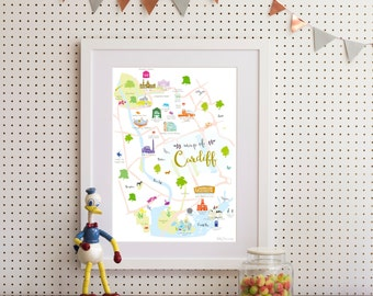 Map of Cardiff Art Print