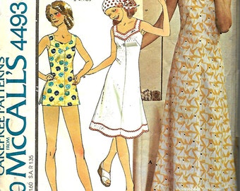 McCall's 4493 Quick & Easy Dress And Shorts Pattern, Women's Size 40, VTG 1970's