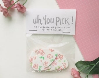 Uh, you pick! - Set of 10 floral hand painted guitar picks by Tania Qurashi