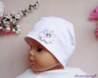White christening hat