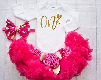1st Birthday Girl Outfit, It's my Birthday Shirt - Cake Smash Outfit - Hot Pink and Gold Birthday Outfit Set - Embellished Skirt and Top