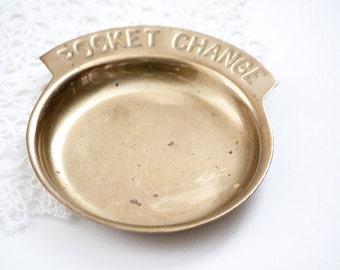 Brass Pocket Change Dish, Dresser Tray