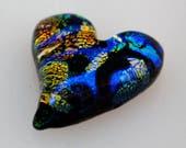 Dichroic Cabochon, Heart Cabochon, Dichroic Heart Cabochon, Heart Mosaic Glass Tile