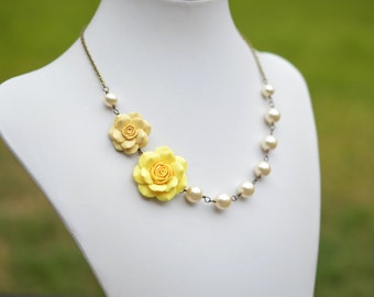 Double Rose Asymmetrical Necklace in Pale Yellow Rose and Sunshine Yellow Rose