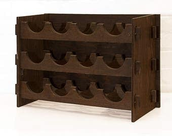 Arts & Crafts Style Wood Wine Rack, circa 1975
