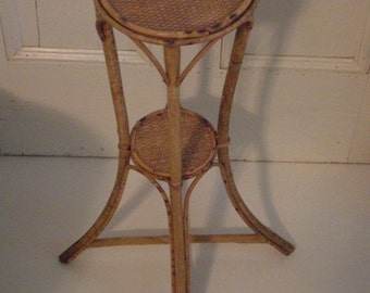 Vintage Bamboo and Wicker Plant Stand Small Splay Leg Side Table