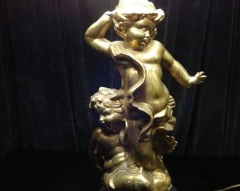 Vintage Double Cherub Lamp