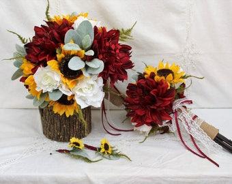 Sunflower Wedding Bouquet, Rustic Wedding, Burgundy Wedding Bouquet, Barn Wedding Bouquet, White Rose Bouquet, Burlap Wedding Bouquet