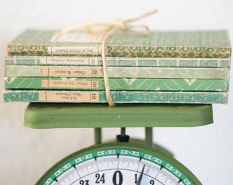 Vintage/Antique Book Stack of German Insel-Bucherei - Green Color Palette