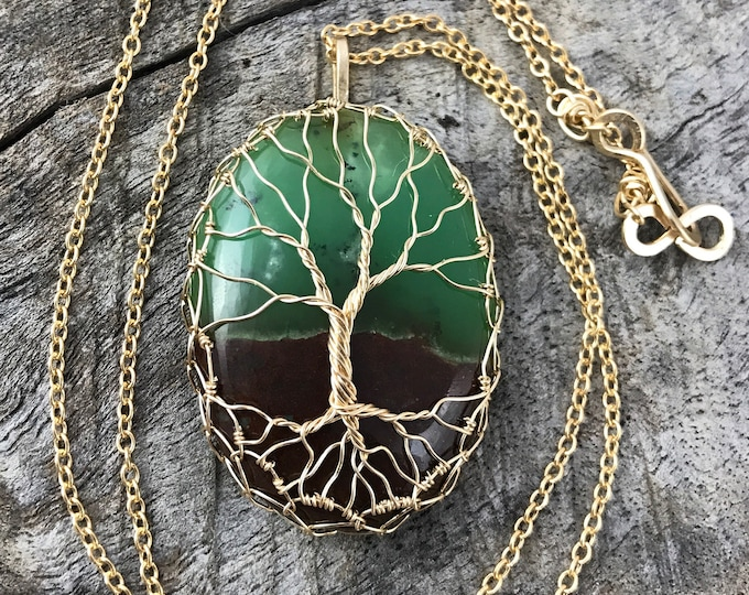 "Featured listing image: Tree of Life Necklace - 14k Gold Filled - Chrysoprase - ""Untold Depths"""