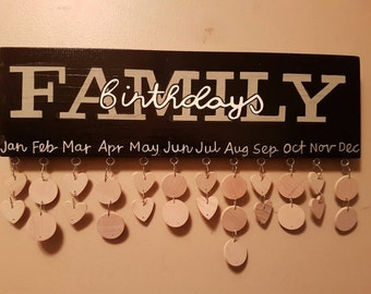 Family Birthday board  / wooden Birthday calendar / Reminder board / handpainted sign / Celebrations Anniversarys Family sign Christmas Gift