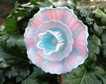 Glass Art, Glass garden art, glass plate flower, vintage glass flower, yard art, garden gift, upcycled - recycled - repurposed glass art
