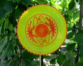 Garden flower, hand painted bright yellow, orange & red, suncatcher garden art, outdoor garden decorations, garden art, garden sculpture