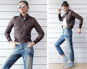 KAREN MILLEN vintage chocolate brown slim fit rib knit cuff pocketed short crop 90s bomber jacket XS-S