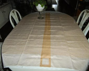 Vintage Dora Jung Tampella Finland Linen damask tablecloth - Nature and brown lines - Signed