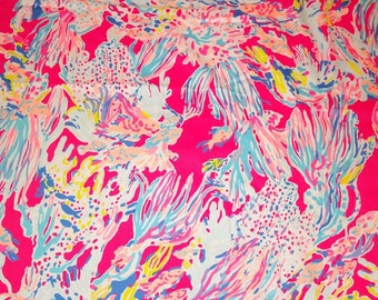 Tiki Pink Sunken Treasure  9 X 18 inches or 18 X 18 inches cotton dobby  ~Lilly Pulitzer~