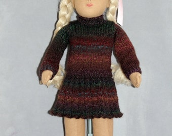 Lovely Handknitted Tunic dress for Sasha Course Doll or American Girl Doll