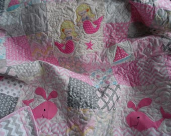 Nautical baby girl mermaid quilt in grey and pink, nautical crin blanket, grey and pink chevron reverse side