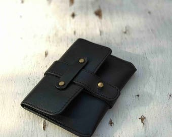 Black Small Wallet, Men Leather Travel Case, Clip Wallet, Thin Holder, Cash Case, Card Holder, Men Organizer, Fathers Day Gift, Black Case