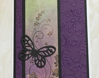 Greeting card, blank card, handmade card, all occasion card, butterfly, flowers, purple, embossed