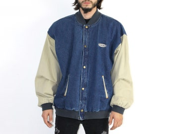 Varsity Baseball Jacket - Vintage Denim XL Blue Cream Snap Button Varsity Style FLANNEL LINER Warm Fall Winter 1990s 90s Carbo Logo Levis