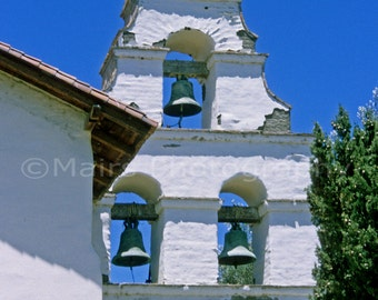 Mission Bells Tower Tile Adobe California Historical, Original Photograph, Fine Art Photography matted, signed 5x7 Original Photograph