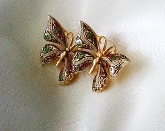Brooch Butterflies Vintage Damascene Gold Plated 24KT Elegant Gift for Her Double Butterflies in Flight Made in Spain