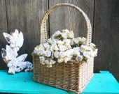 White Floral Flower Bouquet in SeaGrass Basket Vintage 1980s English Cottage Shabby Chic Garden Porch Wedding Display Arts Crafts Farmhouse