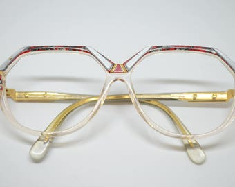 Vintage Cazal Frames with Gold, Gray & Red details (no lenses) made in West Germany