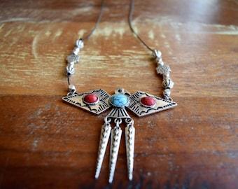 Thunderbird necklace / turquoise necklace / southwestern necklace