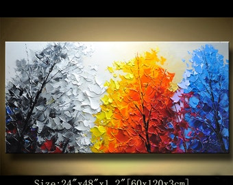 contemporary wall art,Palette Knife Painting,colorful Landscape painting,wall decor,Home Decor,Acrylic Textured Painting ON Canvas Chen 0210