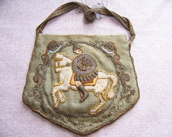 REDUCED Antique Embroidered Linen Purse with Knight