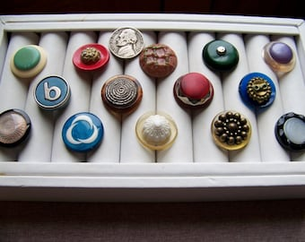 Lot of 12 Vintage Fancy Plastic Shank Buttons