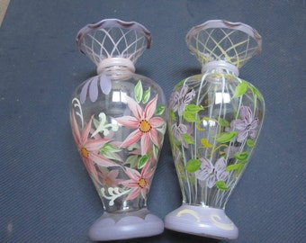 Hand Painted Vases Pair of 2