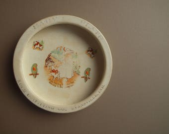 Antique Baby Bunting bowl children's plate cat feeding dish dog dish Trenle China Co collectible ironstone