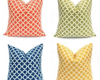 Outdoor Pillow Cover - Outdoor Pillow -  Outdoor Pillows - Navy Pillow - Orange Pillow -  Outdoor Decor - Patio Decor - Yellow Pillow -