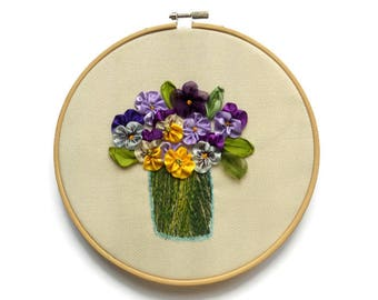 Fiber hoop art Framed textile Wall hanging Pansy ribbon Embroidery