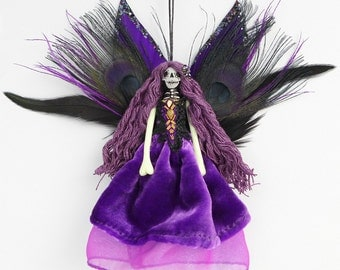 Christmas Fairy decoration, Day of the Dead ornament, handmade unique decor, unusual gift.